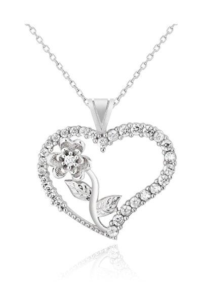 Chavin Kadın Kalbimin Gülü Kalpli Gümüş Kolye De41