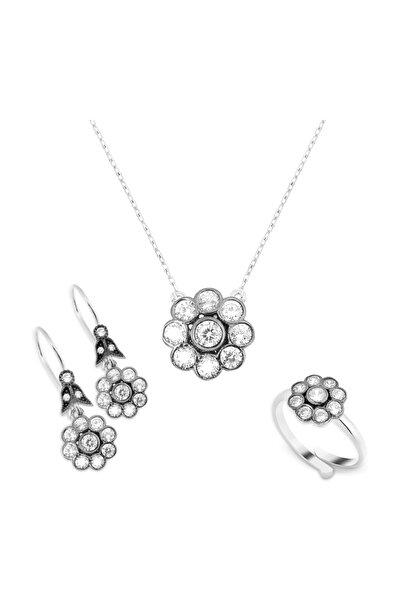 Chavin Kadın Beyaz Elmas Tasarım Gümüş Kolye Yüzük Küpe Set cz59