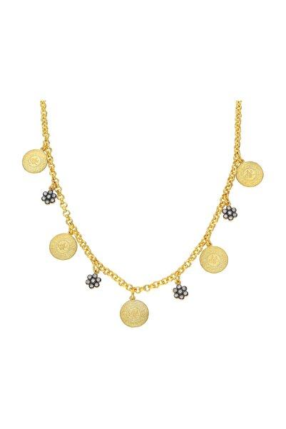 Chavin Kadın Altın Tuğralı Mini Paralar Charm Gümüş Çiçekli Kolye Du01