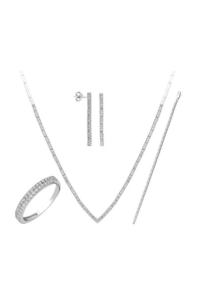 Chavin Kadın Beyaz Su Yolu Gümüş Kolye Küpe Bileklik Yüzük Set Dz27