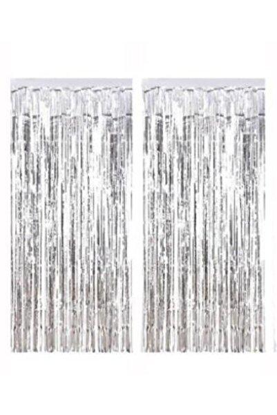 PartiVar Gümüş Püsküllü Işıltılı Arka Fon Kapı Perdesi 90x240 Cm