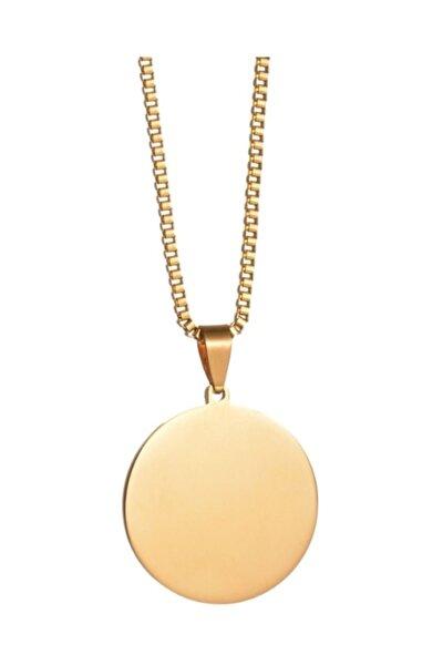Chavin Unisex Sarı Yuvarlak Madalyon Çelik Kolye eb36