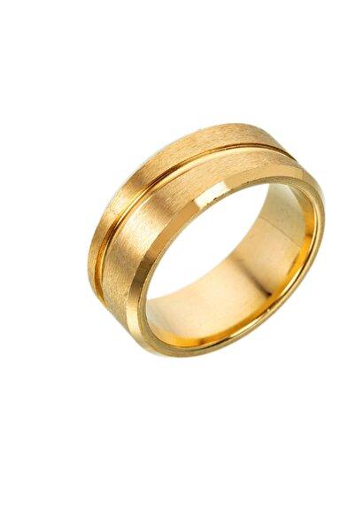 Chavin Unisex Altın Mat Çelik Yüzük ehy-ehy-ec45sr