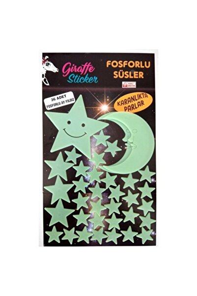 Giraffe Yeşil Karanlıkta Parlayan Fosforlu Ay ve Yıldız Tasarımlı Dekoratif Sticker 36 Adet
