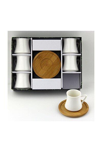 Lavin Bej Porselen Bambu Tabak Kahve Fincan Takımı 2561