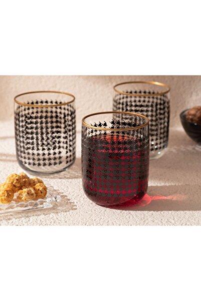 English Home Denby Pied De Poule Cam 3'lü Meşrubat Bardağı 270 Ml Siyah-gold