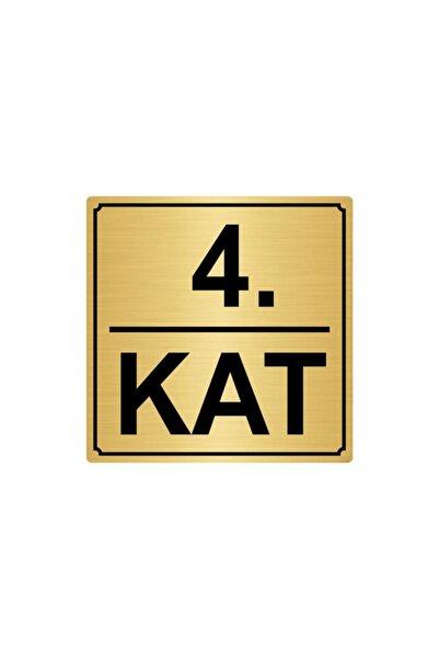 Artı 4.kat Metal Yönlendirme Levhası 20cmx20cm Altın Renk