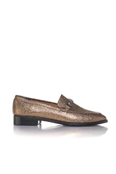 İnci Kadın Altın Vegan Kırışık Tokalı Slip On Casual Ayakkabı -i3025