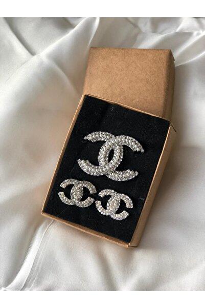 HİLLSCARF Chanel Taşlı Broş & Küpe Seti