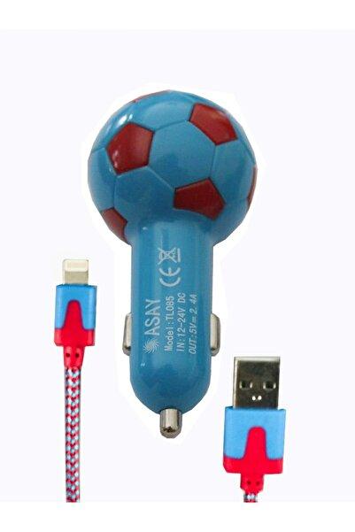 Şimşek Teknoloji Apple Iphone Araç Şarj Aleti 2.4a Hızlı Taraftar Araç Şarj Cihazı Lightning Usb Bordo Mavi