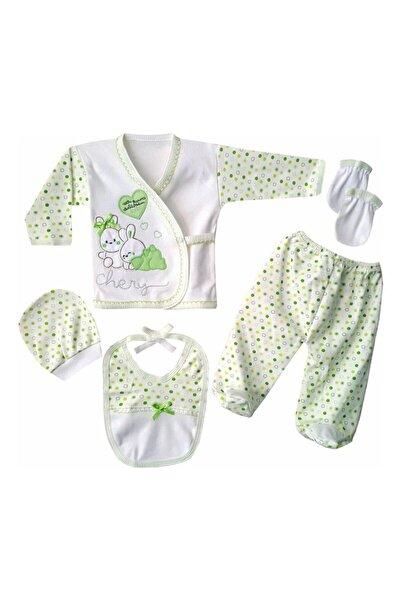 bebegen Chery Yeşil Kalpli Tavşan 5 Parça Hastane Çıkış Seti