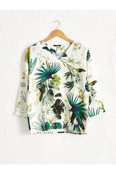 LC Waikiki Kadın Yeşil Baskili  Bluz