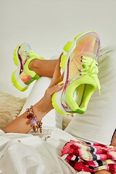 Bambi Sarı Neon Kadın Sneaker L0541099239
