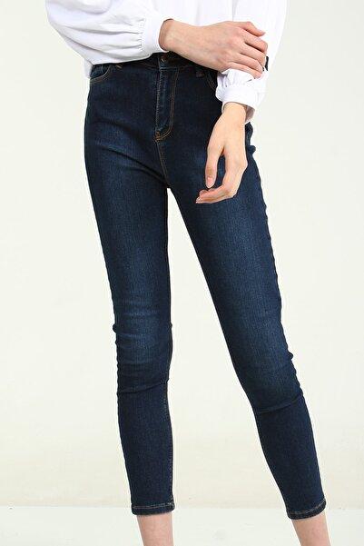 Collezione Koyu Mavi Yüksek Bel Skinny Kadın Denim Pantolon