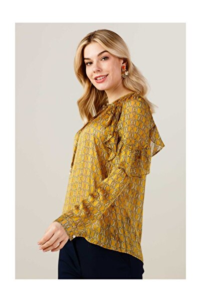 Ekol Kadın Kolları Fırfırlı Bluz