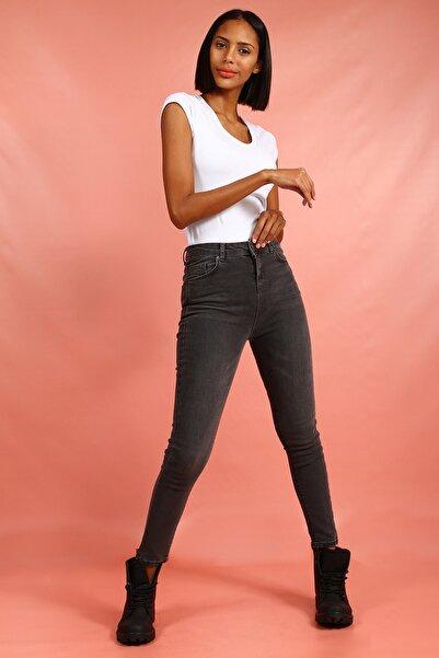 Collezione Kadın Gri Yüksek Bel Skinny Denim Pantolon