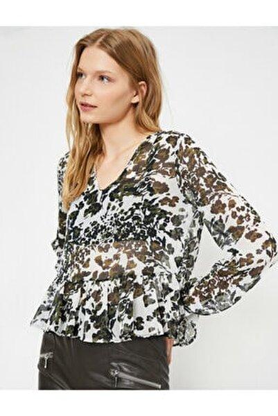 Kadın Desenli Volan Detayli Uzun Kollu Bluz