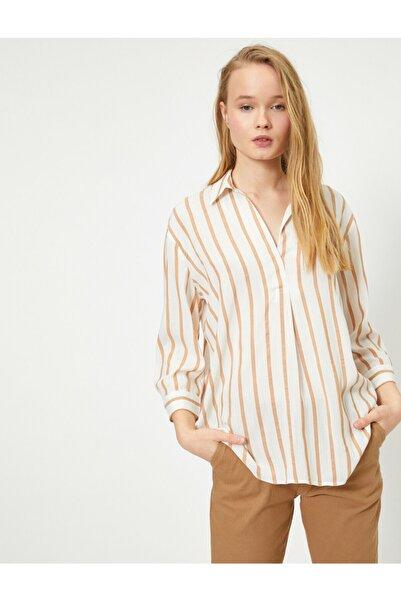 Koton Çizgili Uzun Gömlek