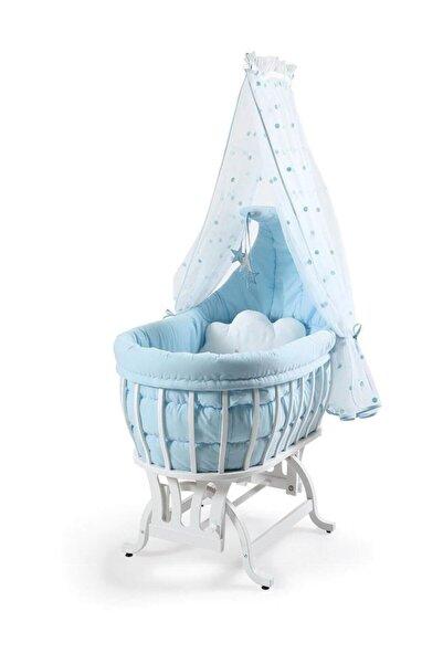 Tahterevalli Luna Beşik Beyaz Lake Mavi Uyku Seti /