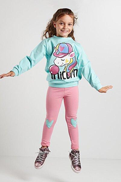 Denokids Bubble Unicorn Kız Sweat-shirt+tayt