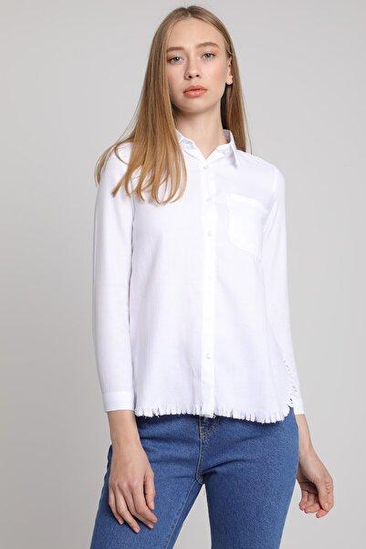 MD trend Kadın Eteği Tiftikli Cepli Gömlek/beyaz/s