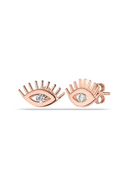 MySilvers Minimal Zirkon Taşlı Göz Küpe Kadın Rose Zirkon