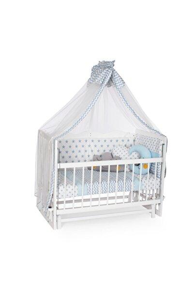 Bambidoo Beyaz 60x120 Anne Yanı Beşik Ahşap Sallanır Beşik 4 Kademeli - Mavi Yıldız Uyku Setli Yataklı