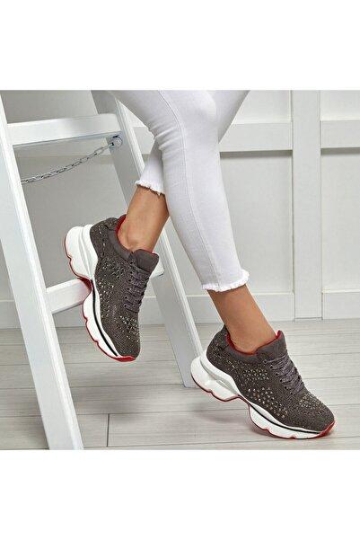 Butigo 19SF-2097 Gri Kadın Kalın Taban Sneaker Spor Ayakkabı 100531607