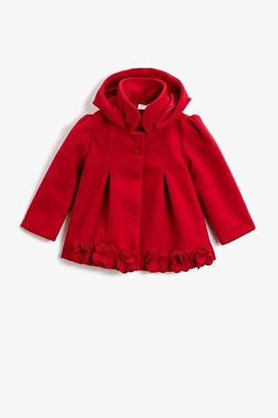 Koton Kız Bebek Kapüşonlu Düğmeli Çiçekli Gabardin Kumaş Kırmızı Kaban 1kmg09072zw