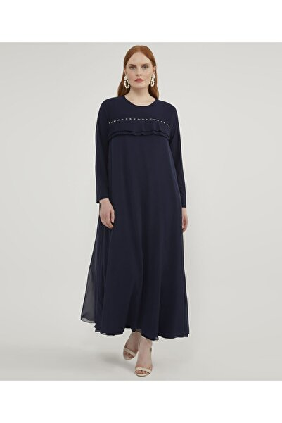Aker Büyük Beden Piliseli Lacivert Elbise V46930135