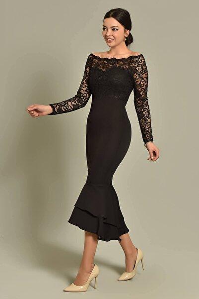 Modakapimda Siyah Güpür Ve Volan Detaylı Elbise