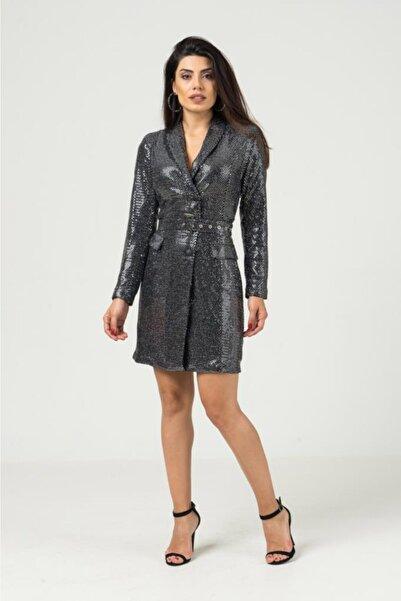 Modaroom Pullu Beli Kemerli Ceket Elbise 728w1248 - Gümüş-m