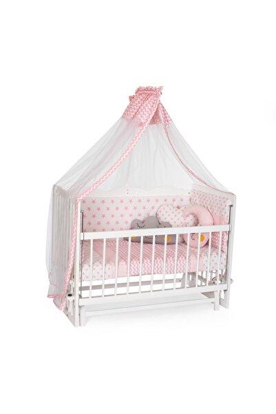Bambidoo Beyaz 60x120 Anne Yanı Beşik Ahşap Sallanır Beşik 4 Kademeli - Pembe Yıldız Uyku Setli Yataklı