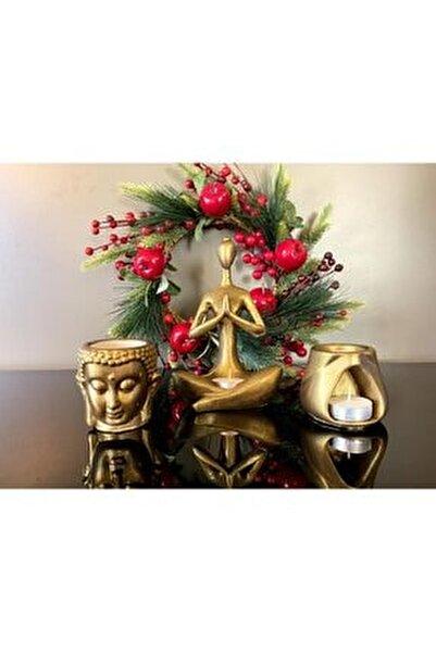 , Buhurdanlık 3'lü Set, Koyu Altın Rengi, Namaste Kadın, Budha Ve Tad Buhurdanlık