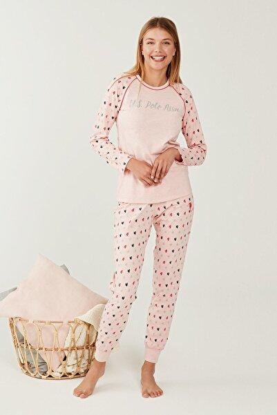 U.S. Polo Assn. Kadın Pembe Melanj Yuvarlak Yaka Pijama Takım