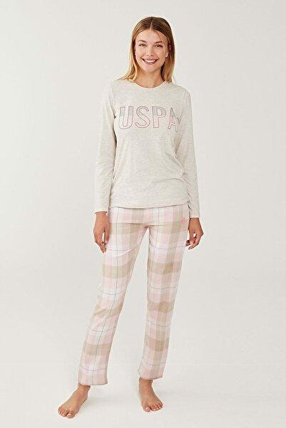 U.S. Polo Assn. Us Polo 16246 Bayan Sıfır Yaka Pijama Takım - U.s Polo Assn - Krem - Xxl