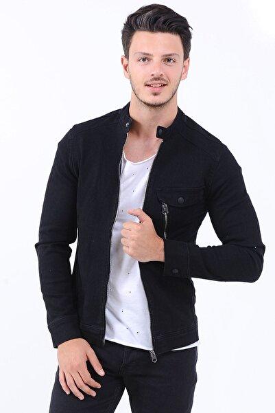 LTC Jeans Tek Fermuarlı Cep Erkek Kot Ceket Siyah