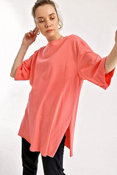 Bigdart 4123 Kol Katlı Yırtmaçlı Salaş T-shirt