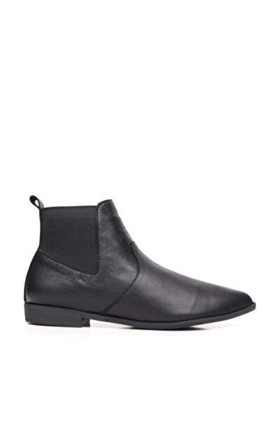 BUENO Shoes Arkadan Lastikli Hakiki Deri Kadın Düz Bot 9p0708