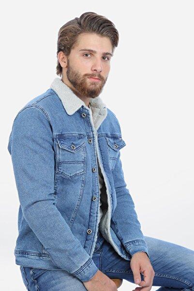 LTC Jeans Içi Kürklü Açık Mavi Erkek Kot Mont