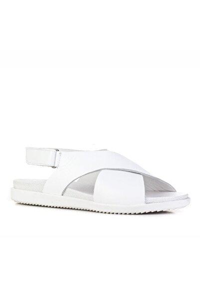 Cabani 2 Cm Topuklu Çapraz Bantlı Tokalı Günlük Kadın Sandalet Beyaz Deri