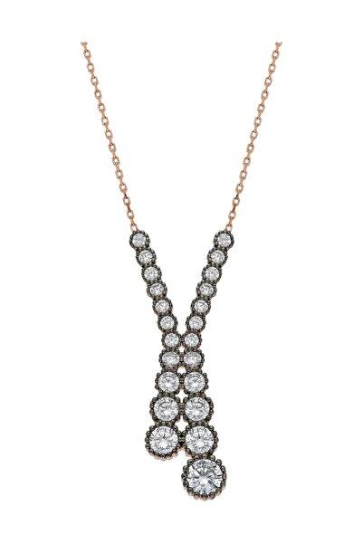 Chavin Elmas Tasarım Sırataşlı Rose Gümüş Kolye Ed23rs