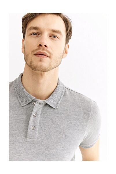 Avva Erkek Gri Polo Yaka Düz T-shirt A01b1146