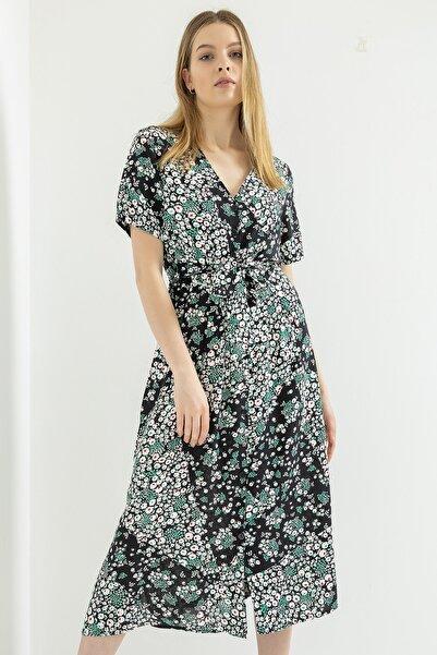Foremia Kadın Siyah Küçük Çiçek Desen Önü Düğmeli Elbise
