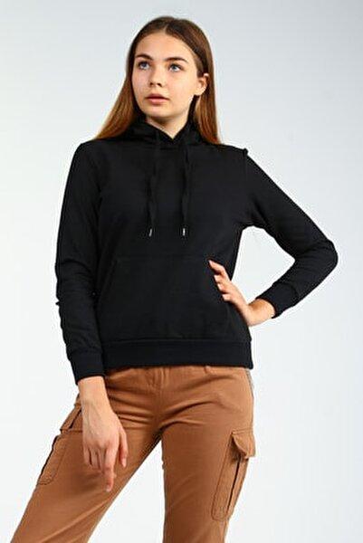 Siyah Kapişonlu Ön Cepli Uzun Kollu Kadın Sweatshirt