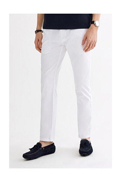 Avva Erkek Beyaz Yandan Cepli Armürlü Slim Fit Pantolon A01y3038