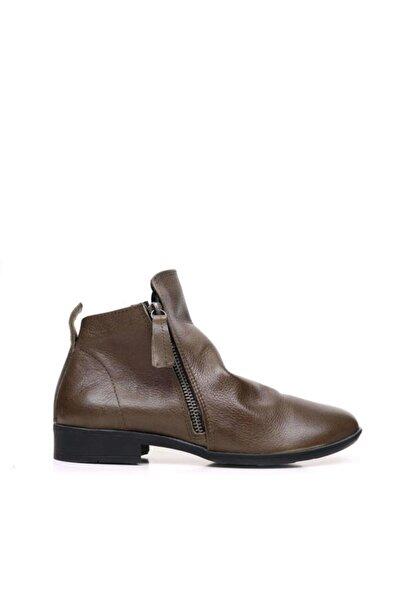 BUENO Shoes Büzgülü Ve Fermuarlı Hakiki Deri Kadın Düz Bot 9p2303