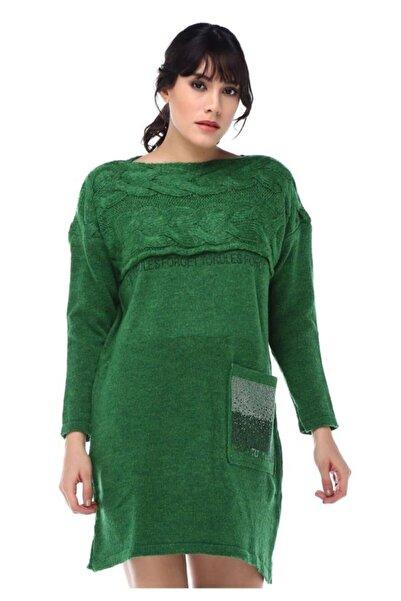 Modkofoni Taş Detaylı Saç Örgülü Cepli Yeşil Triko Tunik