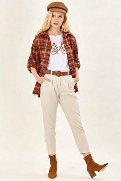 Deri Kemerli Pantolon - Taş