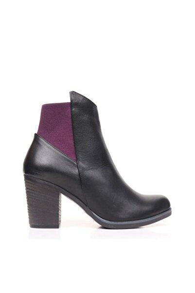 BUENO Shoes Trok Detaylı Hakiki Deri Kadın Topuklu Bot 9p1500